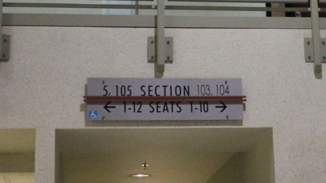 Oracle Arena Section 104 sign