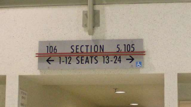 Oracle Arena Section 105 sign