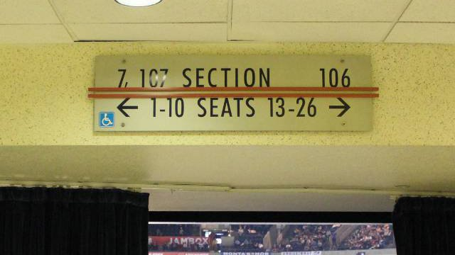 Oracle Arena Section 107 sign