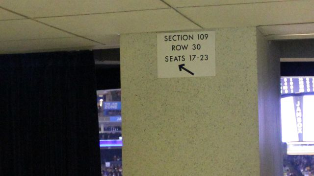 Oracle Arena Section 109 sign