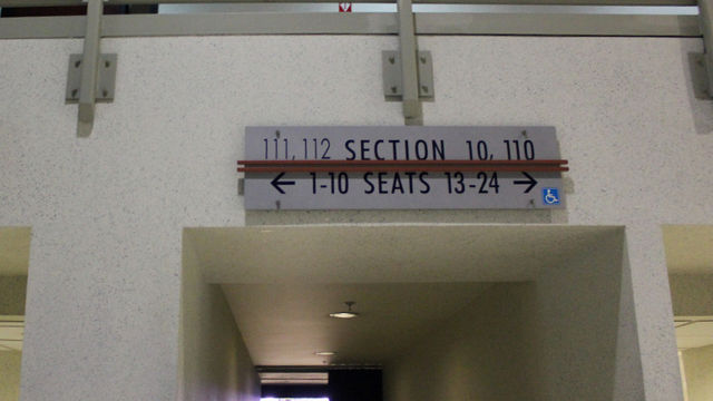 Oracle Arena Section 112 sign