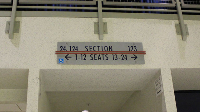 Oracle Arena Section 124 sign