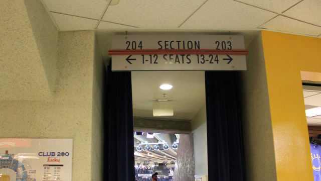 Oracle Arena Section 204 sign