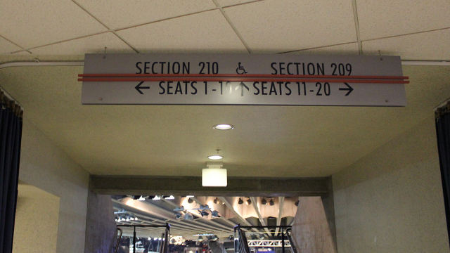 Oracle Arena Section 210 sign
