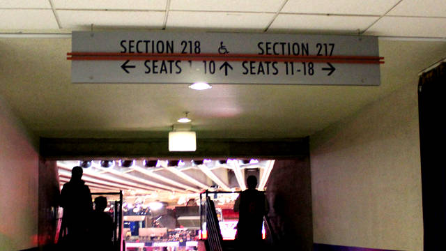 Oracle Arena Section 218 sign