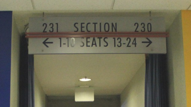 Oracle Arena Section 231 sign