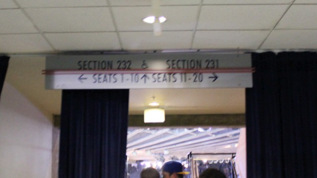 Oracle Arena Section 232 sign